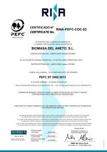 certificado PEFC Cadena de Custodia